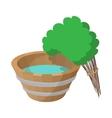 Russian bath tub and broom icon cartoon style vector image