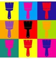 Brush sign Pop-art style icons set vector image