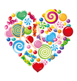 Candy heart white vector image