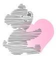 Cute Little Teddy Bear Holding Heart vector image