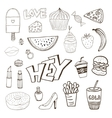 Isolated elements with sweets food and girly vector image