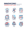 residential sale and lease - line design icons set vector image