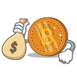 With money bag bitcoin coin character cartoon vector image