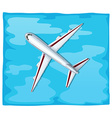 Aerial view of airplane flying over the sea vector image