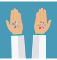 Hands with pills vector image