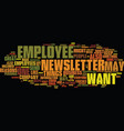 employee newsletter text background word cloud vector image
