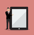 Businessman pointing to the screen of a tablet vector image