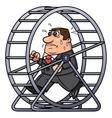 Businessman in a hamster wheel 2 vector image