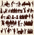 People silhouettes eating dining vector image vector image