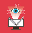 computer robot arm and eye technology vector image
