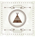 Ethnic background with wigwam in navajo design vector image
