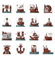 Nautical flat color icons vector image