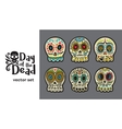 Day of the Dead Skulls Colorful Set vector image
