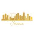 Toronto City skyline golden silhouette vector image