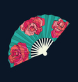 Oriental fan decorated with roses vector image
