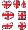 British Flag in various shape glossy button vector image