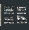 classic car set on dark background vector image