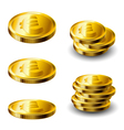 Gold coin set vector image