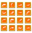 lizard icons set orange vector image