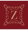 Monogram letter Z Calligraphic ornament Gold vector image