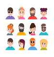 people avatars collection simple flat cartoon vector image