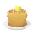 Roasted pancakes with butter icon cartoon style vector image