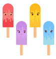 set of flat colored isolated cartoon ice-cream vector image
