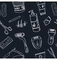 Doodle seamless pattern with hair removal tools vector image