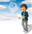 Man sending mail from computer laptop vector image vector image