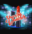 makeup red lipstick advertising vector image