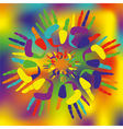 colored palmprints vector image