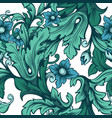 blue-green floral seamless pattern with flowers vector image vector image