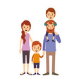 Colorful image caricature family parents with boy vector image