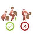 correct and wrong posture way lifting large object vector image