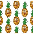 Happy tropical pineapple seamless pattern vector image