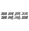 set of new year 2018 calligraphy numbers vector image