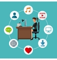 woman working desk laptop social media icons vector image