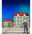 Man and buildings Vector Image