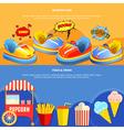 Amusement park mining 2 flat banners vector image