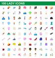 100 lady icons set cartoon style vector image
