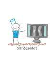 orthopaedist on the monitor shows an X-ray vector image vector image