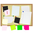 stationery on noticeboard vector image vector image