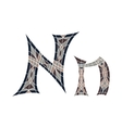 Low poly letter N in brown mosaic polygon vector image