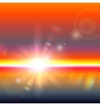 sun over horizon with lens flares vector image vector image