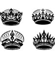 black crown icons set on white vector image