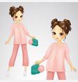 brunette girl in pink suit vector image