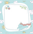 greeting card with cartoon unicorn greeting card vector image