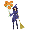 Halloween witch standing with pumpkins and a broom vector image