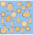 Christmas seamless pattern with cute gingerbread vector image