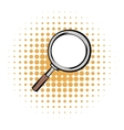 Magnifying glass comics icon vector image